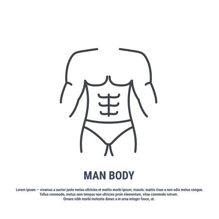 Vector icon. Line design. The body of a man, structure. Anatomical structure of man. Disease and treatment. Symbol, element, sign, logo, emblem. Concept illustration.