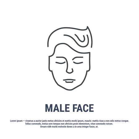 Vector icon. Line design. Male head and face. Anatomical structure of man. Symbol, element, sign,  emblem. Concept illustration.