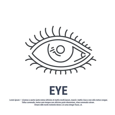 Vector icon. Line design. Eye, eyelashes, eyelid. Disease and treatment. Symbol, element, sign, emblem. Concept illustration. Иллюстрация