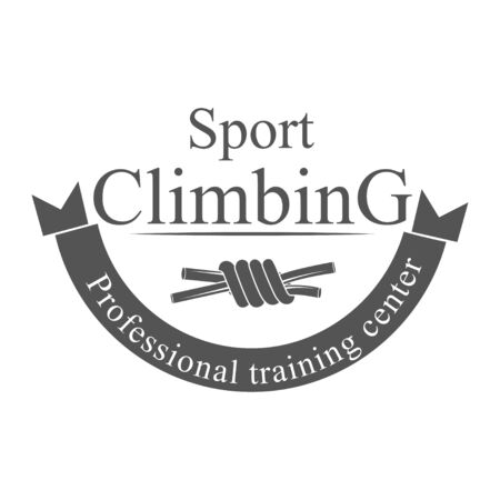 Vector graphic concept. Sport climbing school. Active lifestyle. Symbol emblem, element, print. 写真素材 - 130092255