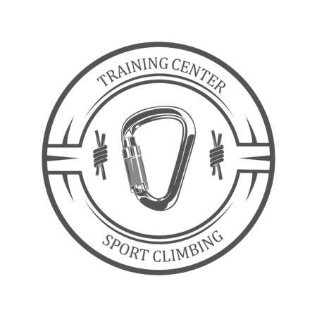 Vector graphic concept. Sport climbing school. Active lifestyle. Symbol emblem, element, print.
