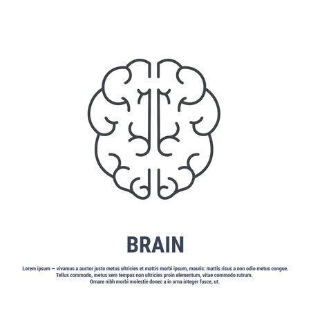 Vector icon. Line design. Human brain. Medicine and anatomy. Anatomical structure of man. Symbol, element, sign, emblem. Concept illustration.