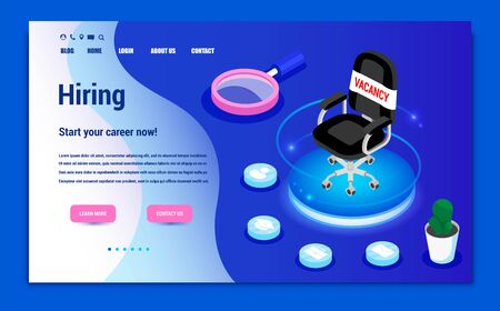 Isometric hiring, recruitment agency. Web site page concept. Landing. Template, banner, advertising, presentation. Open job vacancy. Online job interview. 写真素材 - 130092348