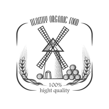 Vector organic food. Farm Organic Products The concept of a sign of quality healthy food. Natural eco nutrition. Farm products shop. 写真素材 - 130092349