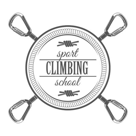 Vector graphic concept. Sport climbing school. Active lifestyle. Symbol emblem, element, print.
