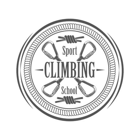Vector graphic concept. Sport climbing school. Active lifestyle. Symbol emblem, element, print. 写真素材 - 130092361