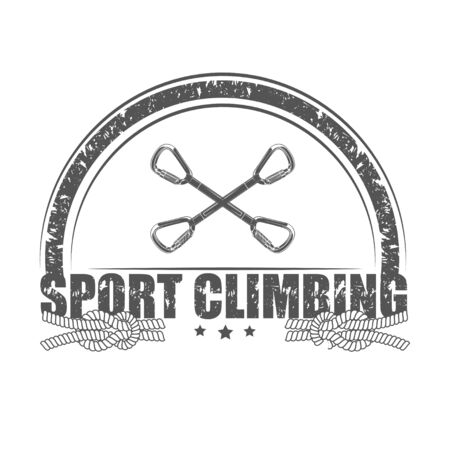 Vector graphic concept. Sport climbing school. Active lifestyle. Symbol emblem, element, print. 写真素材 - 130092366