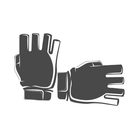 Vector graphic concept. Sport gloves. Clothing for physical activity. Hand protection. active lifestyle. Symbol emblem, element, print.  イラスト・ベクター素材