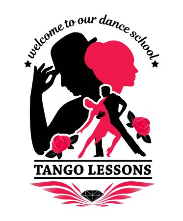 Tango dance. Symbol, element, emblem. School of dance training. Silhouette of a dancing couple.