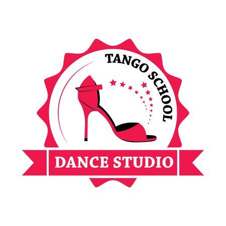 Tango dance. Symbol, element, emblem. School of dance training. Illustration