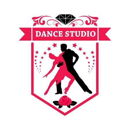 Tango dance. Symbol, element, emblem. School of dance training. Silhouette of a dancing couple.