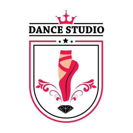 Vector. Dance ballet Foot in pointe. School learning. Emblem, sign, print