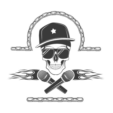 Vector skull with a microphone in a cap. Design element for printing. Rock rap music