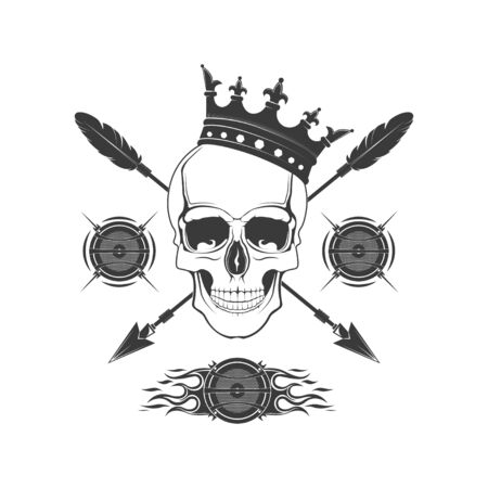 Vector skull  in the crown. Design element for printing. Rock rap music