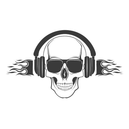 Vector skull with in headphones and glasses. Design element for printing. Rock rap music