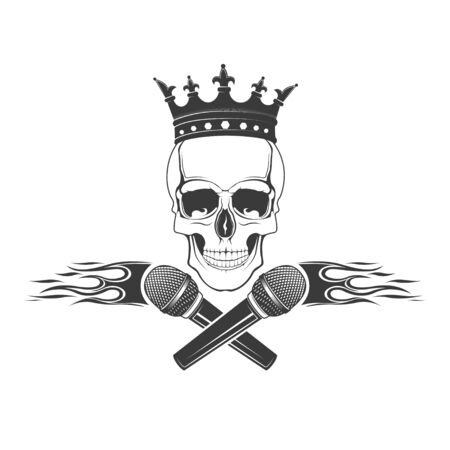 Vector skull with a microphone in the crown. Design element for printing. Rock rap music Illustration