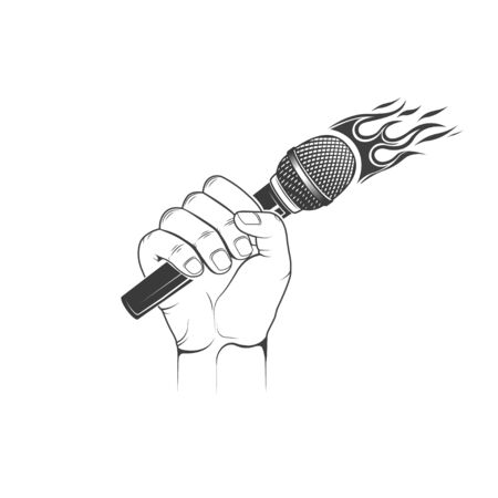 Vector. Hand hold microphone. Design element for printing.
