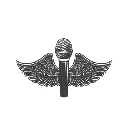 Vector microphone with wings. Design element for printing. Illustration