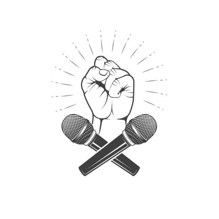 Vector. Hand with crossed microphones.  Design element for printing. Illustration