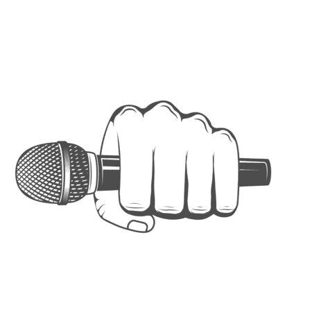 Vektor. Mikrofon in der Hand halten. Gestaltungselement zum Drucken. Vektorgrafik