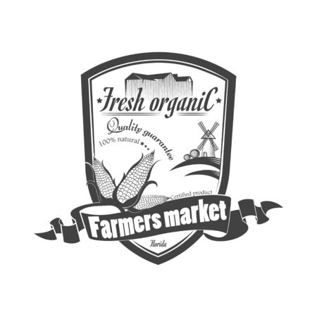 Vector organic food. The concept of a sign of quality healthy food. Farm Organic Products  イラスト・ベクター素材