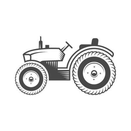 Vector logo tractor. Harvesting machine. Icon symbol, emblem, element. Logotype for engineering, auto parts, agriculture.  イラスト・ベクター素材