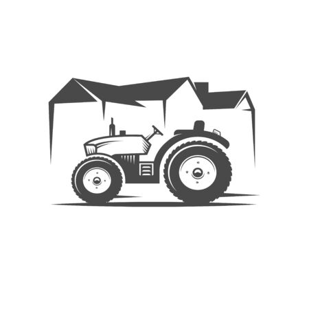 Vector tractor. Harvesting machine. Icon symbol, emblem, element. Logotype for engineering, auto parts, agriculture.  イラスト・ベクター素材