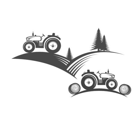 Vector tractor. Harvesting machine. Icon symbol, emblem, element. Logotype for engineering, auto parts, agriculture. 矢量图像