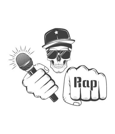 Rap music. Concept of vector musical emblem. Skull in snapback. Design element for rap fest, performance, battle, school, studio. Musical symbol.