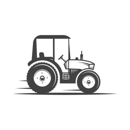 Vector  tractor. Harvesting machine. Icon symbol, emblem, element. engineering, auto parts, agriculture. 免版税图像 - 130092846