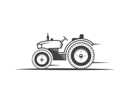 Vector tractor. Harvesting machine. Icon symbol, emblem, element. engineering, auto parts, agriculture.