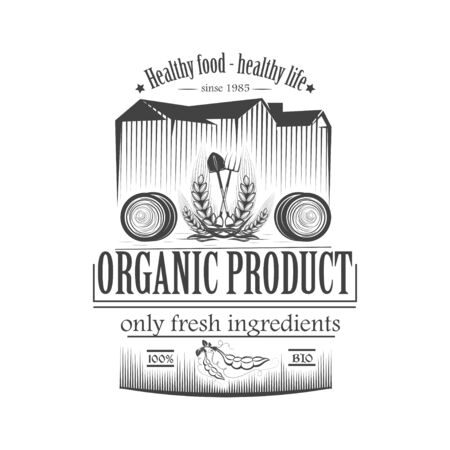 Vector organic food. Farm Organic Products The concept of a sign of quality healthy food. Natural eco nutrition. Farm products shop. 矢量图像