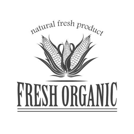 Vector  organic food. Farm Organic Products The concept of a sign of quality healthy food. Natural eco nutrition. Farm products shop.