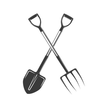 Vector spade and pitchfork sign, element, emblem for shop, market, garden equipment