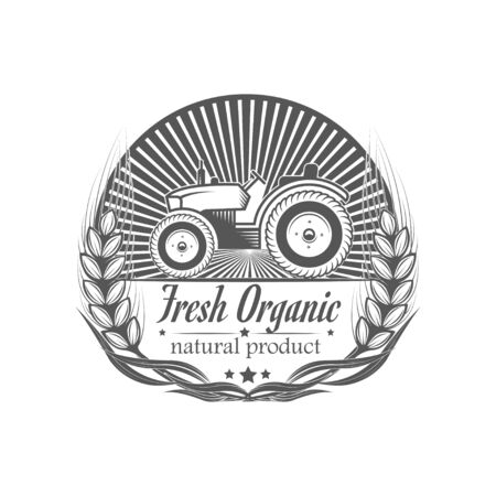 Vector organic food. Farm Organic Products The concept of a sign of quality healthy food. Natural eco nutrition. Farm products shop.  イラスト・ベクター素材
