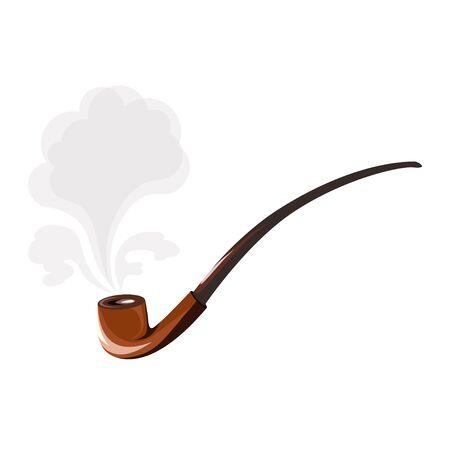Vector flat logo. Vintage long smoking pipe.