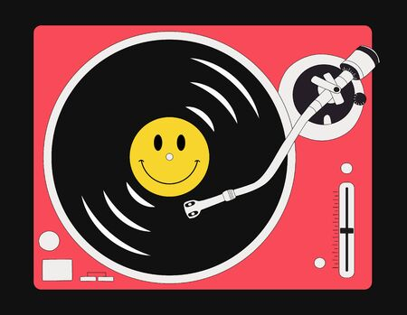 Vector illustration of vinyl record player isolated on black background. Vinyl with yellow smile face.