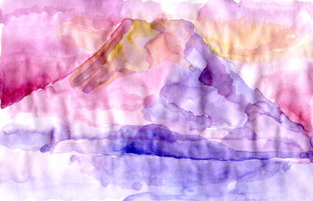 Watecolor Pink Mountain drawing in watercolour