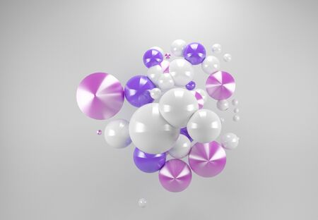 3D balls in white, pink and purple colour composition