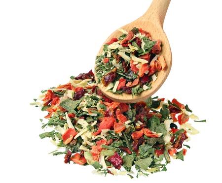 dried vegetables: Condimento de legumbres secas para cocinar, aislado en blanco Foto de archivo