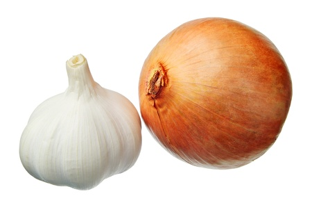 Garlic and onion isolated on white photo