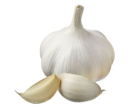 Garlic and cloves closeup isolated on white
