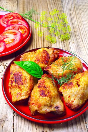 Roast chicken with fennel on a plate