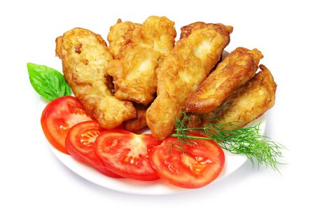 Fish fried in dough on a white Stock Photo