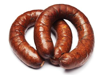 Homemade smoked sausage on white Stock Photo