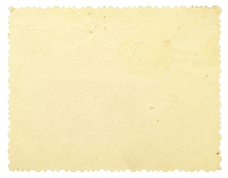 Reverse side of an old photo with a decorative border, isolated on white photo