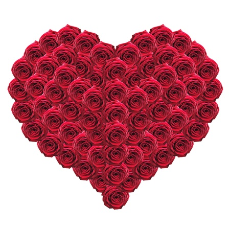 Heart of red roses isolated on white