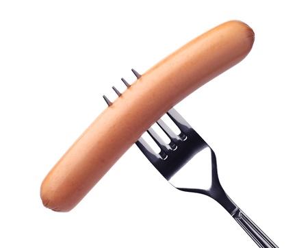 saucisse: Saucisse sur une fourchette isol� sur blanc