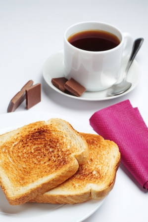 Slice toast bread and cup of coffee