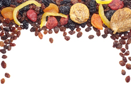 dried plums: Decorative frame with different dried fruits on white